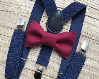Bowtie & Suspenders- Crimson Bowtie/Navy Suspenders/Baby and Toddler Bowties/Birthday/Wedding Party