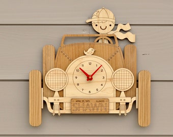Car Clock Personalized Name Boy or Girl Wooden Car Wall Clock Baby Nursery Travel Theme Kids Room Decor
