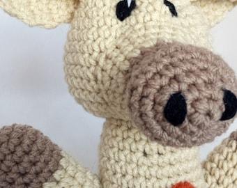 Giraffe Stuffed Animal - Beige w Orange Spots - Perfect Baby Gift - Machine Washable - Crocheted Plush - Safari - Baby Shower Gift - Unisex