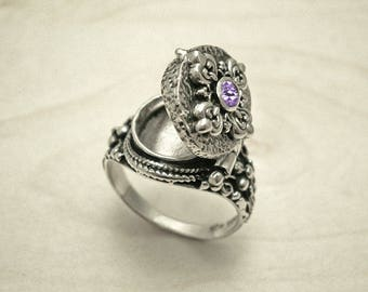 Poison ring,sterling silver ring,medieval ring,silver poison ring,Amethyst silver ring,renaissance ring,vintage silver ring,antique ring.