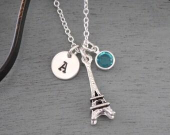 Eiffel Tower, Personalized Eiffel Tower Necklace, Silver Eiffel Tower Necklace, Letter Birthstone, France Necklace, Paris Necklace, Custom