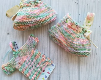 NinnaNannaMaille-Handknit slippers for boy or girl-size 0-3 months-Birth gift-boy's slippers-girl's slippers