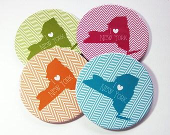 I Love New York Coasters, Drink Coasters, New York Coasters, Coasters, NY Map Coaster, New York, Chevron, State Coaster, NY Coasters (5065b)