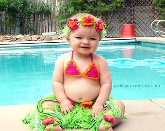 Baby Girl or Toddler Hawaiian HULA Photo Prop- Grass Skirt - Bikini Bra - Flower Headband and Bare Foot Sandals- Made to Order PLAN Ahead
