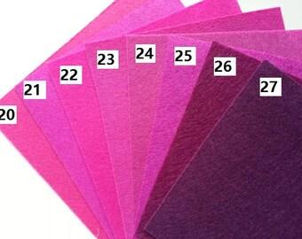 numéro 25 feuille de feutrine unie 15 cm *15cm dans les tons rose