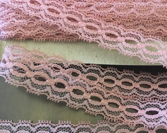 """Lace Mauve Pink 5/8"""" x 3 yards Fabric Ribbon Crafting sewing Floral Trim"""