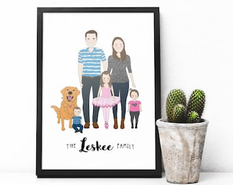 Custom FAMILY PORTRAIT ILLUSTRATION, custom portrait, personalized gift, anniversary, drawing, digital download