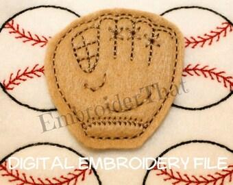 INSTANT DOWNLOAD Baseball Glove Feltie Embroidery Design File