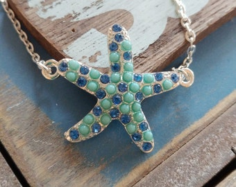 Starfish charm necklace -  Rhinstone necklace - Beach necklace - Blue starfish pendant - Beach gift - Women's necklace - Green necklace