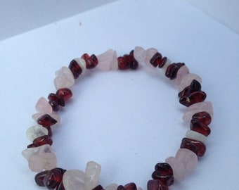 "Rose Quartz and Garnet ""Healing"" Bracelet (Love, to Build or Attract)"