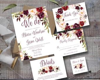 Wedding Invitation Template, Wedding Invitation Printable, Wedding Invitation Set, Marsala Wedding Invitation, Rustic Wedding Invitation