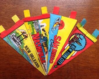 Vintage 1970s 70s mini souvenir tourist pennants New York San Diego New Orleans Nashville