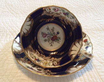 Radfords bone China made in England navy blue and gold floral cup and saucer