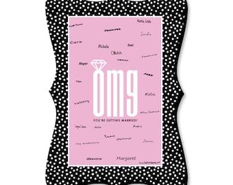 Engagement - Guest Book Alternative - Bachelorette Party Signature Mat  - OMG, You're Getting Married! Unique Alternative Signature Mat