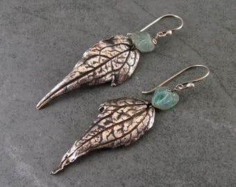 Raw apatite fine silver leaf earrings, handmade recycled fine silver jewelry