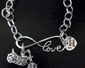 Infiniy love Bracelet with a Harley Motorcycle charm (Silver Plated) chain.