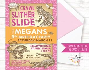 Reptile Birthday Invitation, Reptile Invitation for Girls, Reptile Party, Reptile Invitation for Girls, Reptile Invite, PRINTABLE