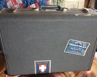 VINTAGE SAMSONITE SUITCASE, luggage, Paris France stickers, grey, Denver, travel bag