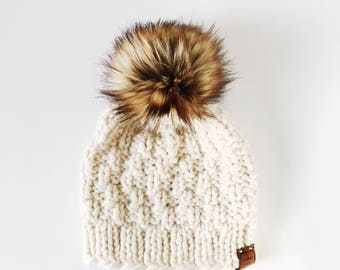 Chunky Hand Knit Fitted Ski Cap with Faux Fur Pom Pom   the SAVANNAH WATCHMAN CAP   Cream & Golden Wolf