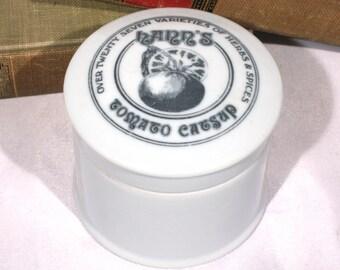 Hanns Tomato Catsup Porcelain Jar, Ketchup Pot Condiment Jar