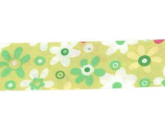 Bias green flowers by the meter, 100% cotton