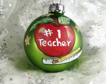 Teacher Ornament, Red Apple, Pencil, Ruler, Green Ornament, #1 Teacher, Teacher Gift, Free Inscription, Christmas Keepsake
