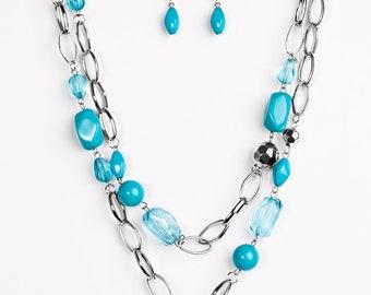 Blue Lanyard Necklace Set