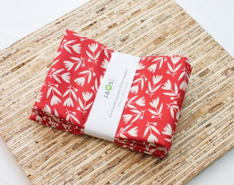 Large ORGANIC Cloth Napkins - Set of 4 - (N2794) - Red Tossed Tulip Flower Modern Reusable Fabric Napkins