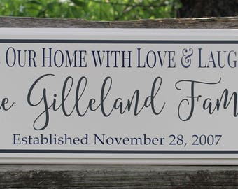 Family name sign-for the home-personalized-wooden plaque-Family gift-parents gift-home-gift for wife-bless our home sign