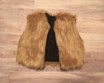 Light brown faux fur vest made to order baby/toddler