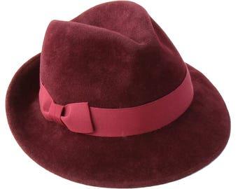 Burgundy Fedora Hat Women's Hat Fall Fashion Fall Accessories Fall Fashion Women's Fedora Hat Wide Brimmed Hat Winter Accessories