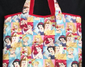 Disney Princess tote bag,Diaper Bag,weekend Bag,overnight tote,travel bag,teacher gift,baby shower,birthday gift,Ariel,Snow White,Cinderella