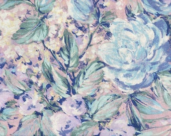 Extra-Wide Floral Quilt Fabric - Blue, Purple, & White Flowers on Pink - Peter Pan Fabrics - OOP - BTHY