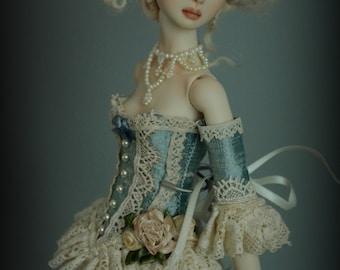 Victoriana Collection- Blue Silk Corset Full Set for Enchanted Doll, Resin Enchanted Doll, Angelika Balan and Similar Size BJD