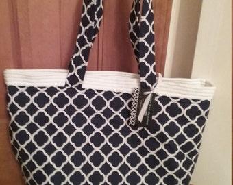 Handbag, Tote Bag, Beach Bag, Diaper Bag, Market Bag, Purse,  Navy and White Tote Bag, School Bag