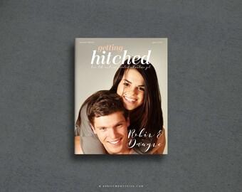 ROBIN 4-Page Full Size Glossy Magazine Wedding Invitation Suite, Photo Book, Custom Booklet Invite for Destination Wedding