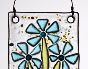 Fanciful Aqua Flowers in Fused Glass.  The Perfect Fresh Ornament!