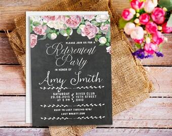 Surprise Retirement Invitation, Surprise Retirement Party Invitation, Chalkboard Retirement Invitation, retirement invite, floral pink