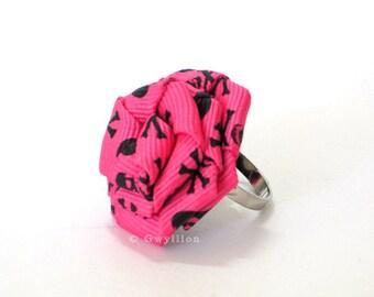 Pink Skull n Bones Rose Ring