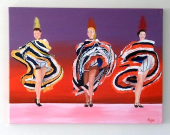 Oil painting on canvas - dancers moulin rouge