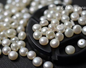 AAA Button pearl Wholesale pearl Freshwater pearls bread pearl stud earrings pearl seed pearl Loose pearls 6.5-6.8mm7.5-7.8mm7.8-8.3mm 2pcs