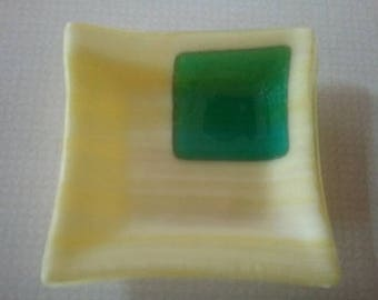 Fused Glass Dish - Glass Coaster - Trinket Tray - Ring Dish - Glass Candle Holder - Wedding Gift - Birthday Gift