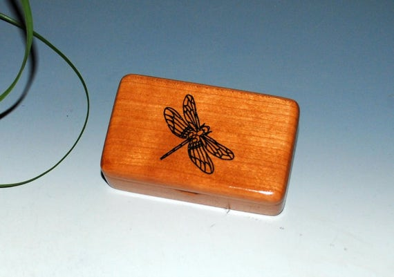 Wood Box - Wooden Box of Cherry With a Dragonfly- Tiny Wood Treasure Box -Gift Box-Wood Jewelry Box Keepsake Box-Small Wood Box-Wooden Boxes
