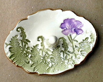 Ceramic Ring Holder Ring Dish Off White Purple flower and ferns edged in gold