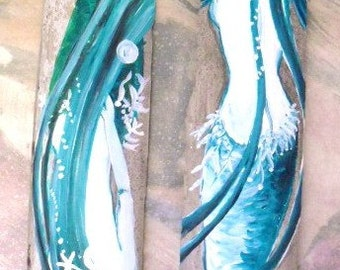 2 Fantasy Mermaids original Hand Painted on Driftwood Bamboo- Beach Decor- mermaid bathroom decor