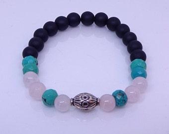 Rose quartz, turquoise,lava beads, sterling silver healing bracelet