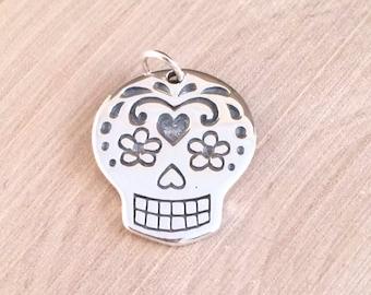 Sugar Skull Pendant, Sugar Skull Charm, Large Sugar Skull Charm, Sterling Silver Sugar Skull Charm, Mexican Sugar Skull, PS01418