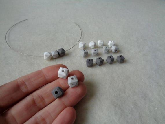 Hexagon concrete beads set of 6 hand casting beads do it hexagon concrete beads set of 6 hand casting beads do it yourself goncrete necklace geometric jewelry solutioingenieria Image collections