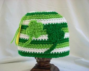 Child Teen Adult St. Patrick's Day Hat, Irish Crochet Hat, Girl, Boy Winter Hat, Irish Gift, Four Leaf Clover, Woman's, Men's Crochet Hat