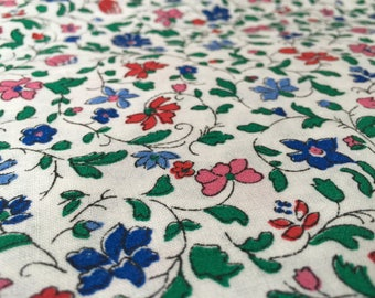 Vintage 60s Rustic Fabric 50 x 1.20 m: Mille Fleur/scattered flowers/white colored